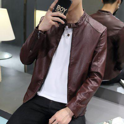 Autumn and Winter MenS Pure Color Coat Handsome and Thick Leather Clothing Fashion Casual Jacket MenS ClothesMens Jackets &amp; Coats<br>Autumn and Winter MenS Pure Color Coat Handsome and Thick Leather Clothing Fashion Casual Jacket MenS Clothes<br><br>Closure Type: Zipper<br>Clothes Type: Leather &amp; Suede<br>Collar: Stand Collar<br>Color Style: Solid<br>Colors: Black,Red,Blue,Yellow<br>Detachable Part: None<br>Hooded: No<br>Materials: Polyester, Leather, PU, Cotton<br>Package Content: 1?coat<br>Package size (L x W x H): 1.00 x 1.00 x 1.00 cm / 0.39 x 0.39 x 0.39 inches<br>Package weight: 0.8000 kg<br>Pattern Type: Solid<br>Size1: M,L,XL,2XL,3XL<br>Style: Fashion<br>Technics: Other<br>Thickness: Medium thickness