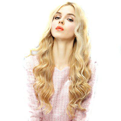 Golden Yellow Women Fashion Hair Wig Big Blonde Wavy Wig Middle Parting Hair Style