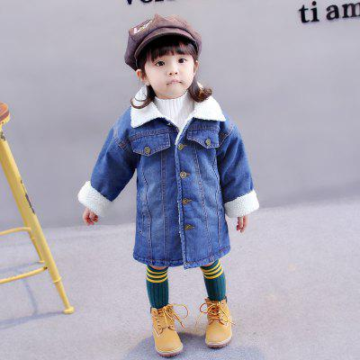 Girl'S Cowboy Spring and Autumn Style Warm Coat