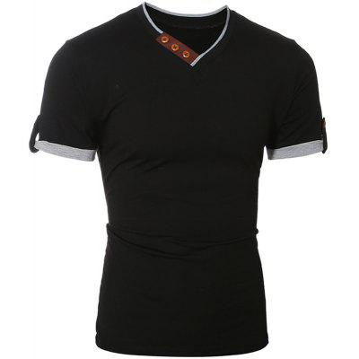 MenS Cotton Slim Short-Sleeved T-Shirt 7304Mens T-shirts<br>MenS Cotton Slim Short-Sleeved T-Shirt 7304<br><br>Collar: V-Neck<br>Material: Cotton, Polyester<br>Package Contents: 1xT shirt<br>Pattern Type: Solid<br>Sleeve Length: Short Sleeves<br>Style: Fashion<br>Weight: 0.1800kg