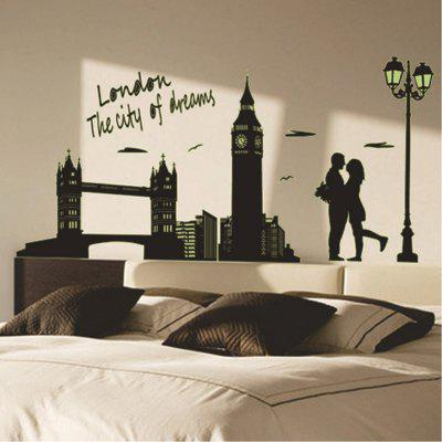 Home Decorative London Twin Bridge Night Glowing Sticker Luminous Decals for Couples Room