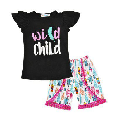 SOSOCOER Kids Girls Clothes Set Letter Lace Short Sleeved T - Shirt + Wool Pants Two Pieces