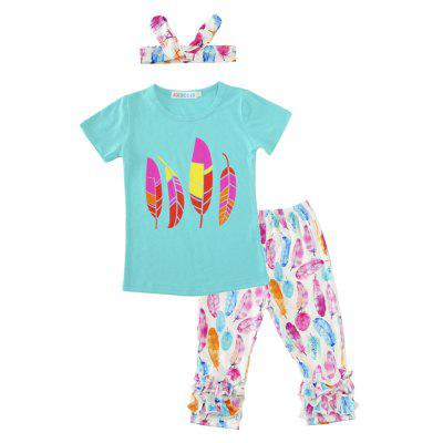 SOSOCOER Kids Girls Clothes Set Feather Printing HairBand T - Shirt and Lace Pants Three Piece