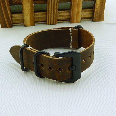 Crazy Horse Leather Zulu Watch straps with Black Dyed Stainless Steel Buckles