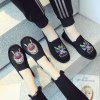 2018 New Embroidery Comfortable and Breathable Cloth Shoes - BLACK