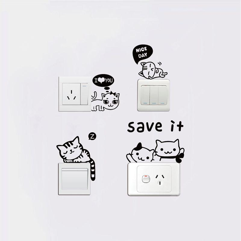 DSU Cute Cat Animal Switch Sticker Adesivo Murale in Vinile per Gatti