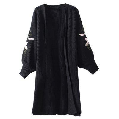 Embroidered Lantern Sleeve Long Coat