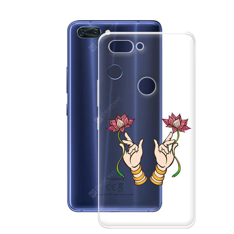 Handytasche für Tecno Phantom 8 Transparent Slim TPU Soft Lotus Muster