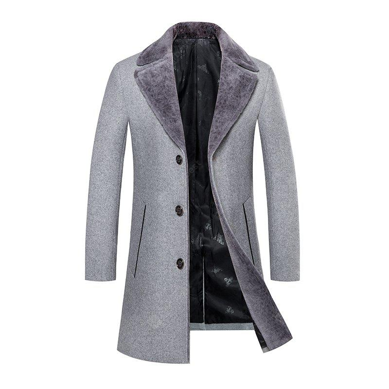 Men's Trench Coat Turn Down Collar Thickened Solid Color Button Opening Slim Coat