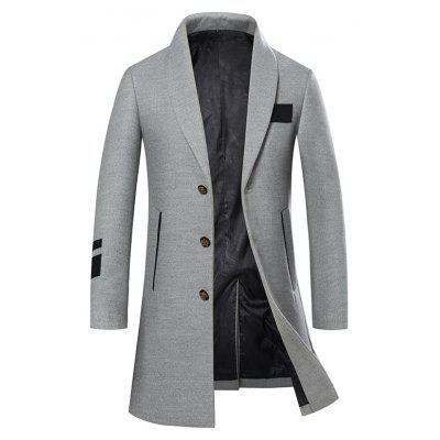 Men's Trench Coat Turn Down Collar Slim Button Opening Fashion Coat