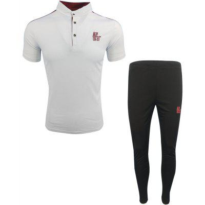 Men'S Spring and Summer Fashion Casual Sports and Fitness Collar POLO Shirt Short-Sleeved Trousers Two-Piece Suit