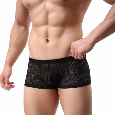 Men'S Lace Underwear Sexy Transparent Boxer Shorts