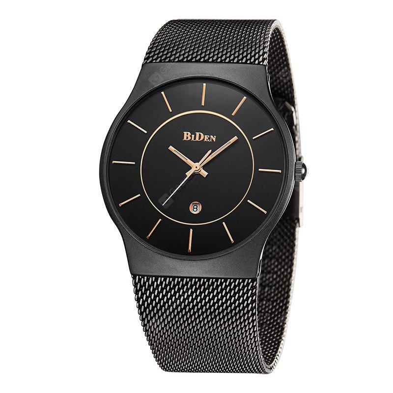 BIDEN0058 Stainless Steel Mesh Strap Men'S Watches Fashion Casual Complete Calendar Sport Quartz Watch Relogio Masculino