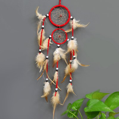 vintage home decoration Indian style feather dream catcher circular feathers wall hanging dreamcatchers decor for car
