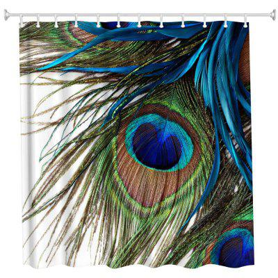 Buy Peacock Feather Polyester Shower Curtain Bathroom Curtain High Definition 3D Printing Water-Proof COLORMIX for $14.22 in GearBest store