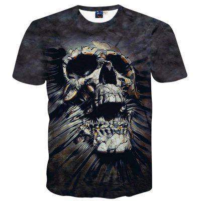 Buy BLACK L Fashion Leisure Personality Skull 3D Digital Printed Short-Sleeved T-Shirt Hot Style for $25.09 in GearBest store