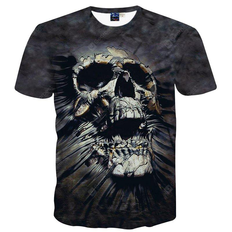 Fashion Leisure Personality Skull 3D Digital Printed Short-Sleeved T-Shirt Hot Style