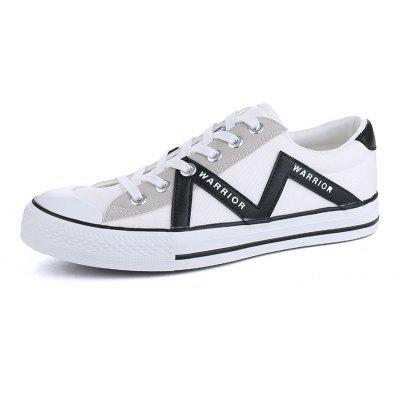 Warrior Sneakers Lacing Design Breathable Color Block Fashion All Match ShoesCasual Shoes<br>Warrior Sneakers Lacing Design Breathable Color Block Fashion All Match Shoes<br><br>Available Size: 39-44<br>Closure Type: Lace-Up<br>Embellishment: None<br>Gender: Unisex<br>Outsole Material: Rubber<br>Package Contents: 1 x  pair of shoes<br>Pattern Type: Others<br>Season: Spring/Fall<br>Toe Shape: Round Toe<br>Toe Style: Closed Toe<br>Upper Material: Canvas<br>Weight: 1.3167kg