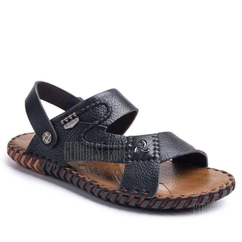 Ummer Male Sandals Men Genuine Leather Shoes Open Toe Sandals Slippers Fashion Casual Cowhide Beach Shoes