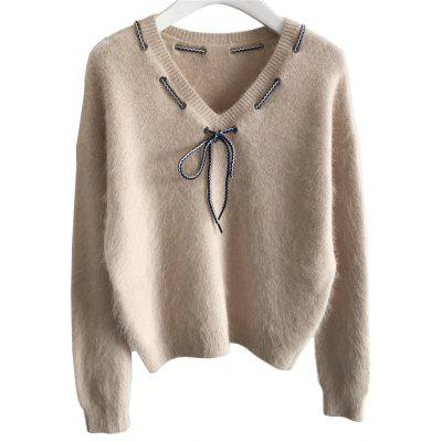 Sweetness Howknot  Bottomed Mink Fur Knitted Sweater