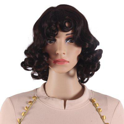 Dark Brown Short Curly Synthetic Hair Wigs for Black Women Heat Resistant Wigs SW5004S-O