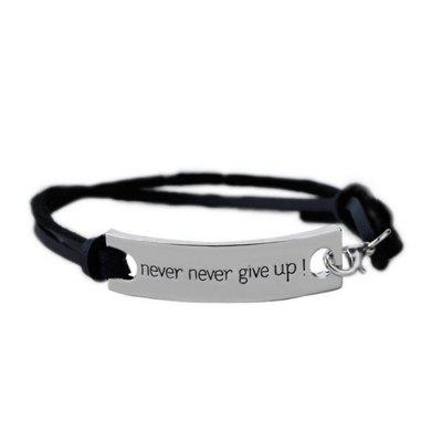 Never Never Give Up Fashion Womens Mens ID Bracelet