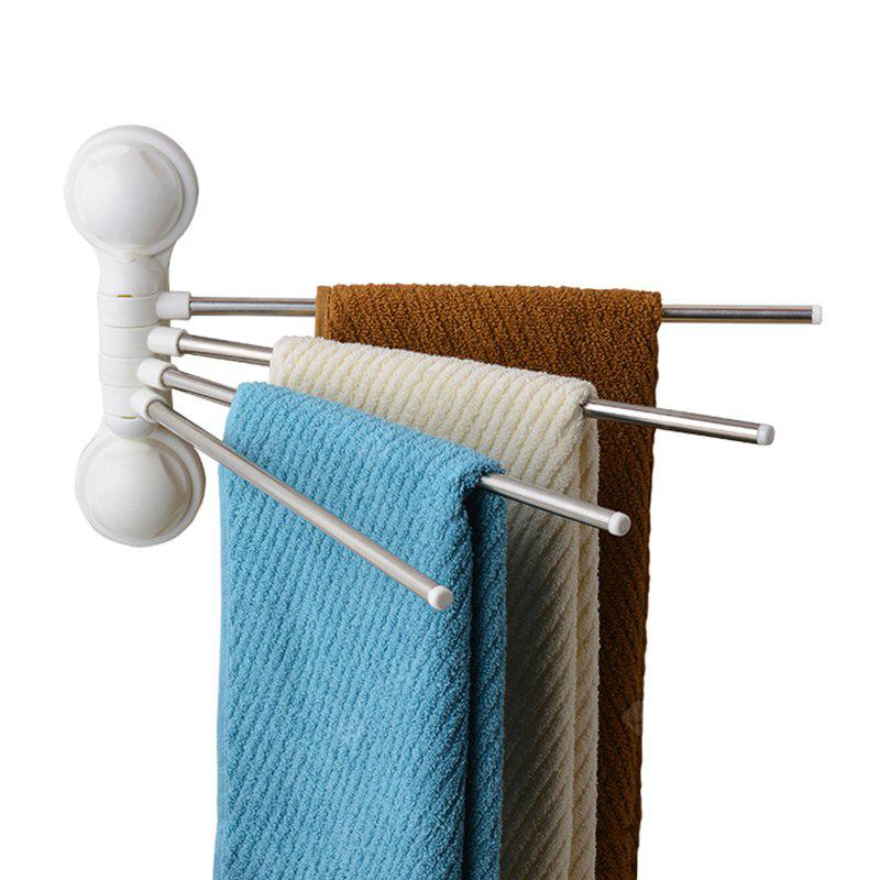 No Punched Bathroom Sucker Rotating Four Rod Towel Rack