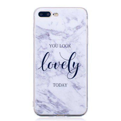 Ultra Thin Lovely Characters Marble Stone Patterned Soft TPU Phone Case for iPhone 8 Plus