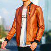 Young Slim Leather Jacket - ORANGE YELLOW