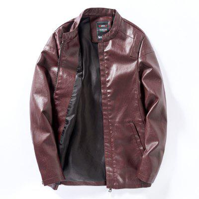 Men'S Zip-Up Leather Jacket