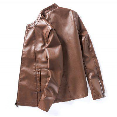 Mens Solid Color Slim Leather JacketMens Jackets &amp; Coats<br>Mens Solid Color Slim Leather Jacket<br><br>Clothes Type: Leather &amp; Suede<br>Collar: Stand Collar<br>Material: Faux Leather<br>Package Contents: 1 x Jacket<br>Season: Spring, Fall, Winter<br>Shirt Length: Regular<br>Sleeve Length: Long Sleeves<br>Style: Casual<br>Weight: 0.8000kg