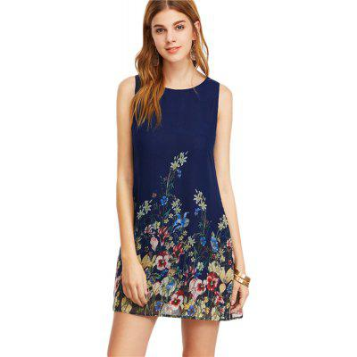 Buy CERULEAN M 2018 Navy Buttoned Flower Print Scoop Neck Sleeveless A Line Dress for $26.47 in GearBest store