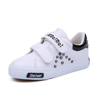 Buy BLACK 33 Young Men and Women Boys and Girls Boys and Girls Leather Shoes Rivet Leisure Magic Stickers for $25.41 in GearBest store