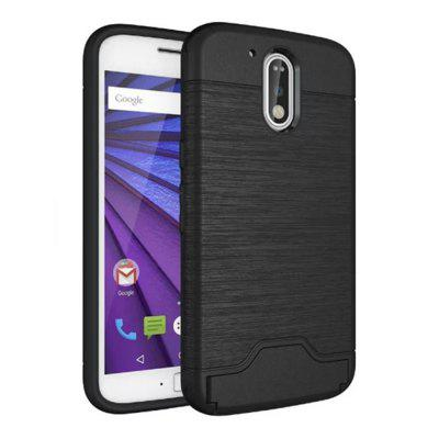 Cover Case MOTOROLA G4 2 in 1 Hybrid Wire Drawing Armatura PC + Custodia in TPU con supporto per tessera