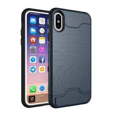 Buy Cover Case iPhone X 2 in 1 Hybrid Wire Drawing Armor PC +TPU Case With Stand Card Holder, CADETBLUE, Mobile Phones, Apple Accessories, iPhone Accessories, iPhone Cases/Covers for $4.70 in GearBest store