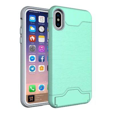 Buy Cover Case iPhone X 2 in 1 Hybrid Wire Drawing Armor PC +TPU Case With Stand Card Holder, GREEN, Mobile Phones, Apple Accessories, iPhone Accessories, iPhone Cases/Covers for $4.70 in GearBest store