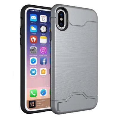 Buy Cover Case iPhone X 2 in 1 Hybrid Wire Drawing Armor PC +TPU Case With Stand Card Holder, GRAY, Mobile Phones, Apple Accessories, iPhone Accessories, iPhone Cases/Covers for $4.70 in GearBest store