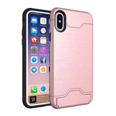 Buy Cover Case iPhone X 2 in 1 Hybrid Wire Drawing Armor PC +TPU Case With Stand Card Holder, PINK, Mobile Phones, Apple Accessories, iPhone Accessories, iPhone Cases/Covers for $4.70 in GearBest store
