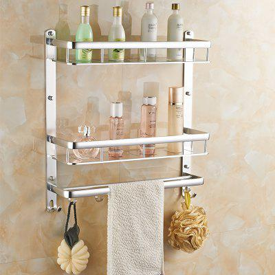 Space Aluminum Wall-mounted Bathroom or Kitchen Storage Double Pole Double ShelfStorage Holders &amp; Racks<br>Space Aluminum Wall-mounted Bathroom or Kitchen Storage Double Pole Double Shelf<br><br>Available Color: Silver<br>Functions: Home, Bathroom, Dining Room, Kitchen<br>Materials: Metal, Alloy<br>Package Contents: 2 x Tray , 1 x Hook , 2 x Connection Hook , 4 x Screw , 4 x Expansion Screw , 4 x Decorative cap<br>Package Size(L x W x H): 60.00 x 14.00 x 14.00 cm / 23.62 x 5.51 x 5.51 inches<br>Package weight: 2.5000 kg<br>Types: Storage Holders and Racks