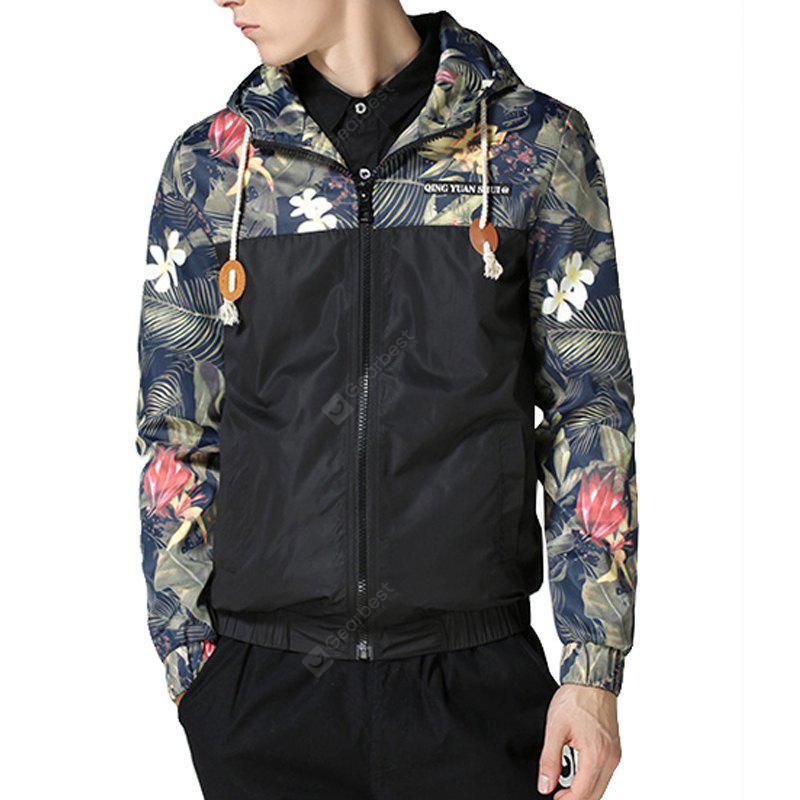 Men'S Autumn and Winter Self-Cultivation Hooded Printing Splicing Fashion Casual Tide Hoodie Jacket