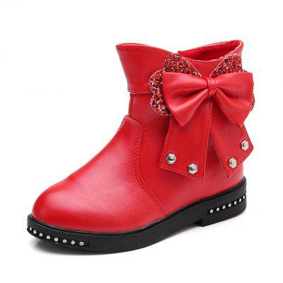 Buy RED 36 Leather Martin Boots Children Girls Shoes for $34.10 in GearBest store