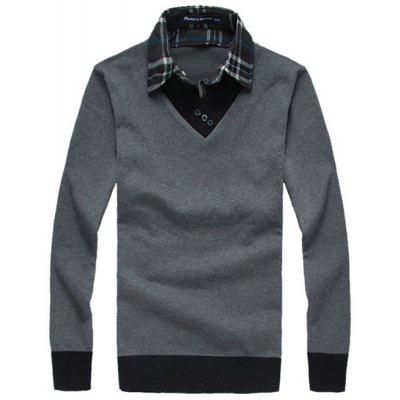 Men'S Sweaters Fashion Fake Two Pieces Pullover Knitwear