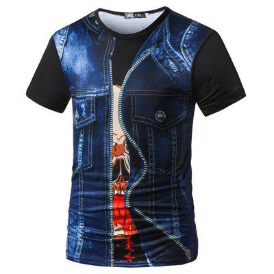 Round Neck 3D Printed Pattern Casual Short-Sleeved Men'S T-Shirt