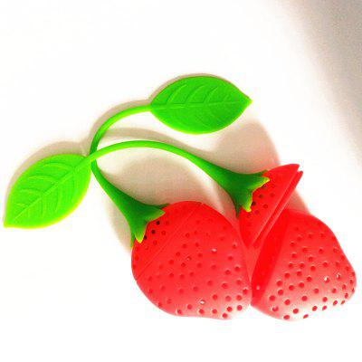 Silicone Strawberry Design Loose Tea Leaf Strainer Herbal Spice Infuser Filter Tools duck style stainless steel tea leaf infuser filter tool w stand silver