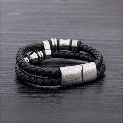 Aliexpress Europe Men Titanium Leather Bracelet Black Leather Cord Stainless Steel Jewelry PersonalityBracelets &amp; Bangles<br>Aliexpress Europe Men Titanium Leather Bracelet Black Leather Cord Stainless Steel Jewelry Personality<br><br>Closure Type: Magnet<br>Diameter of Bangle: 6.5cm<br>Gender: For Men<br>Item Type: Bangle<br>Length of Chain: 20.5cm<br>Metal Type: Stainless Steel<br>Package Contents: 1* Leather Bracelet<br>Package size (L x W x H): 10.00 x 15.00 x 0.01 cm / 3.94 x 5.91 x 0 inches<br>Package weight: 0.0310 kg<br>Product weight: 0.0310 kg<br>Style: Punk