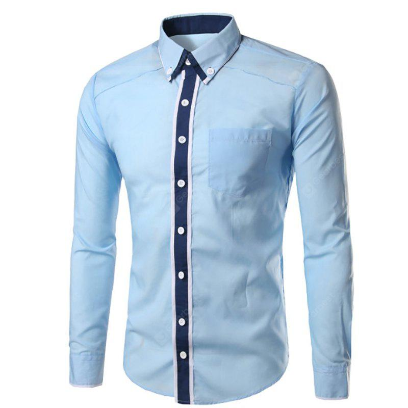 Men'S New Double-Decked Collar Fight Color Slim Fashion Long-Sleeved Shirt