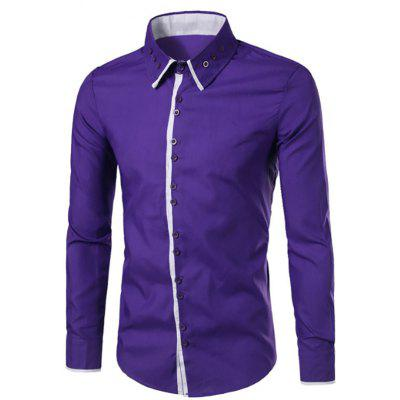 Men'S New Collar Buckle Design Placket Spell Color Long-Sleeved Shirt