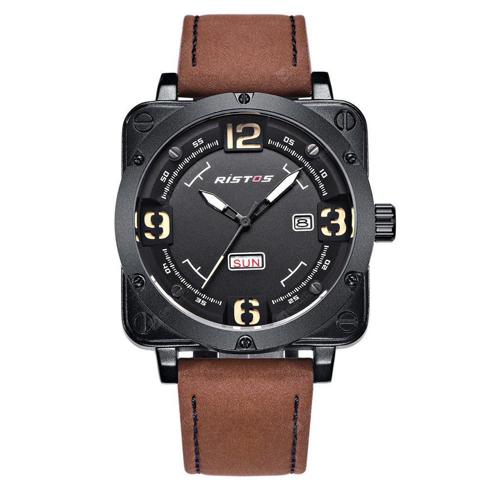 RISTOS 9320 1231 Stylish Outdoor Sports Square Dial with A Weekly Calendar Waterproof Men Watch