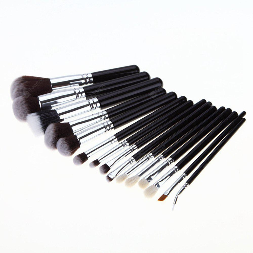 TODO 15Pcs Makeup Foundation Eye Shadow Brushes Extra Soft Hair with PU Zipper Bag