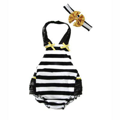 SOSOCOER Baby Girls Clothes Striped Backless Tie romper + Hair Band Two Piece Set